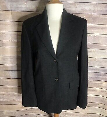 Celine Paris Blazer Sz 38 Dark Gray Long Sleeve Button Front Wool Blend Lined