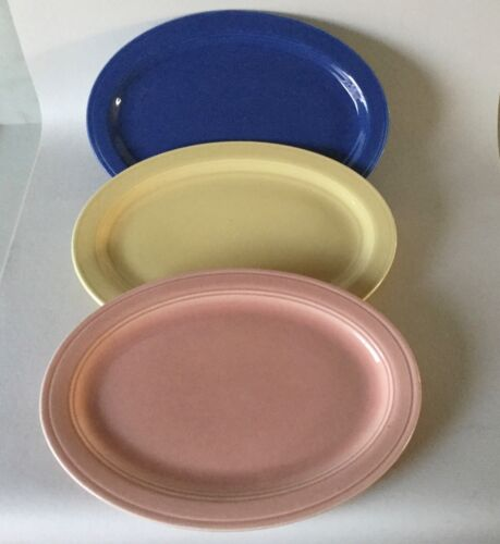 """3 VERNON KILNS Ware Early California Blue Pink Yellow Oval Platter s 12 1/2"""""""