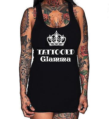 Black Racer Tank (Rudechix TATTOOED GLAMMA  womens black racer back tank top punk)
