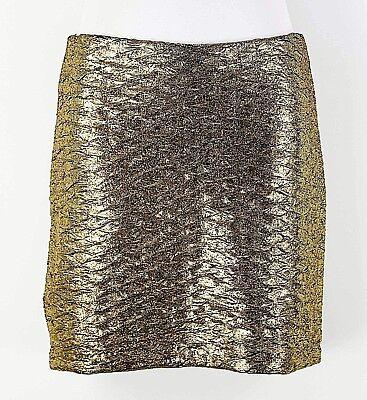 BCBGeneration Sz XS Gold Metallic Textured Polyester Spandex Pencil Skirt F290