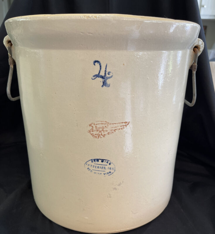 Red Wing 4 Gallon Crock With Handles- No Cracks-Very Nice!