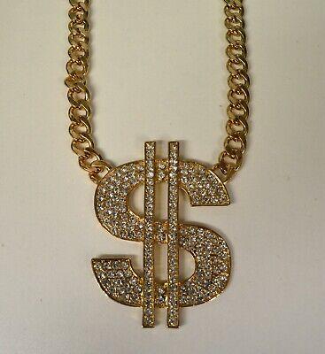 Statement Bling Klobig Strass Dollarzeichen Anhänger Halskette Gold