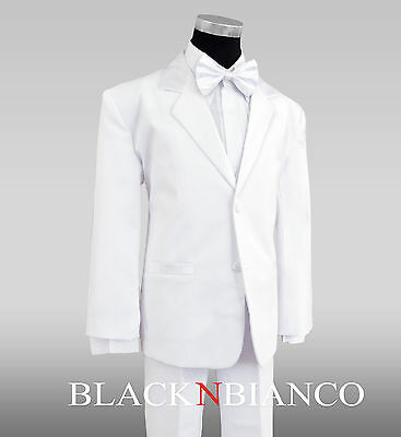 Formal Boys White Tuxedo Suit with White Bow Tie All Sizes for Kids - Childrens Tuxedo Suit