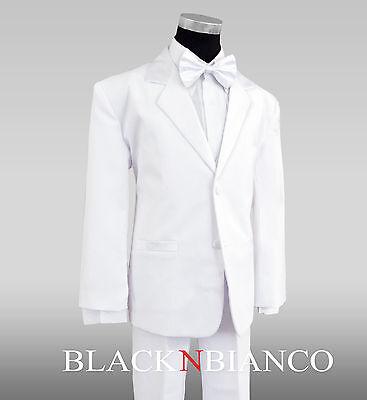 Formal Boys White Tuxedo Suit with White Bow Tie All Sizes for - Kids Tuxedo