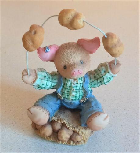 """1997 Enesco TLP This Little Piggy """"Erin Go Boar"""" Pig Juggling Potatos 299898"""
