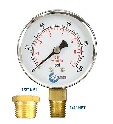 Well Pressure Gauge 100 Psi Chrome Plated Steel Case 14 To 12 Npt Adapter