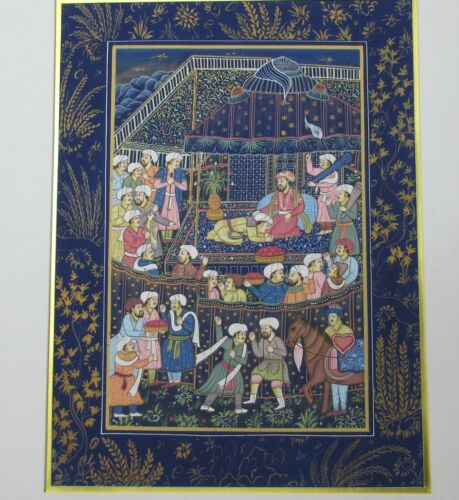 Vintage Miniature Mughal Persian Painting on Pure Indian Silk Indian Scene