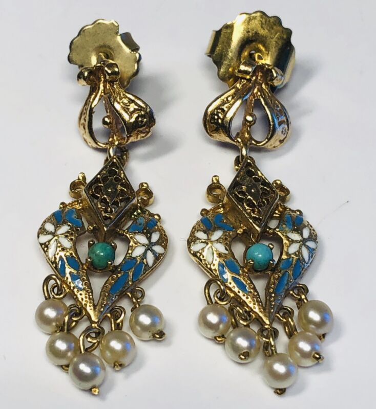 Antique Victorian Hand-Painted Enamel on 14K Gold with Pearls Dangle Earrings