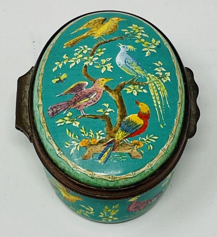 Halcyon Days Enamel Oval Pill Trinket Box w/Exotic Birds