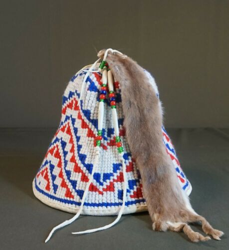 Large Native American Northwest Yakima Hop String Yarn Twined Ferret Hat