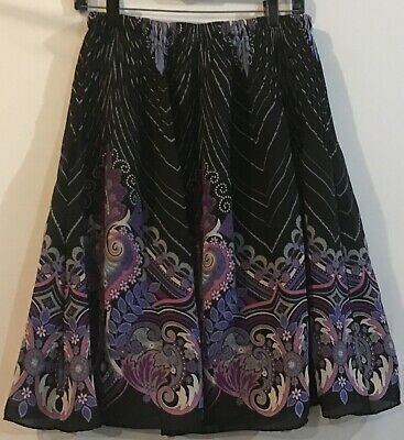 Allison Taylor L Purple Black Blue Knee Length Lined Elastic Waist Skirt