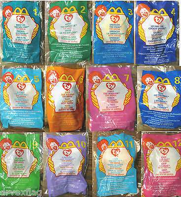 Mcdonald's Vintage Complete Happy Meal Toy Set of 12 ty Beanies Babies MIP TAGS