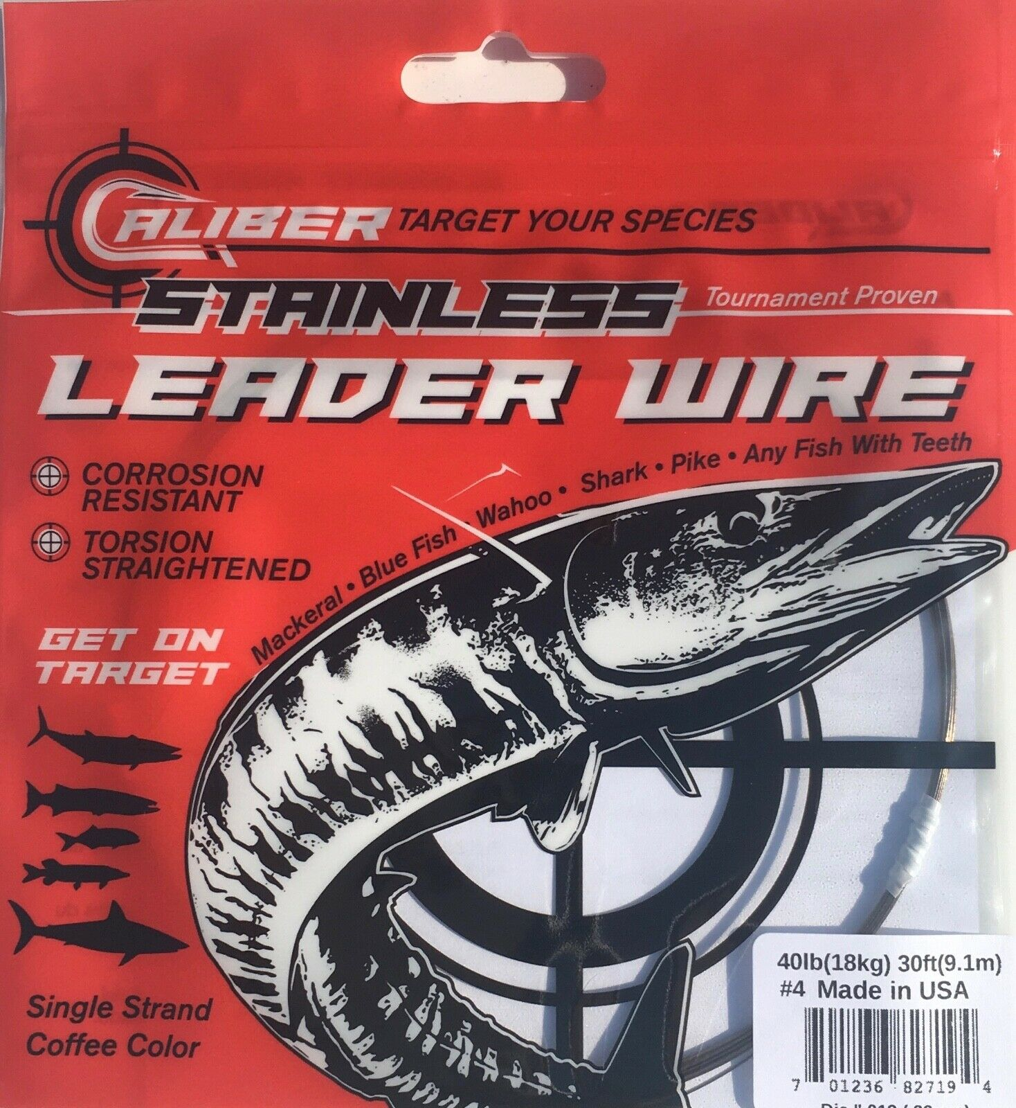 AFW TOOTH PROOF STAINLESS STEEL LEADER-Single Strand Wire-27LB Test 30FT BRIGHT