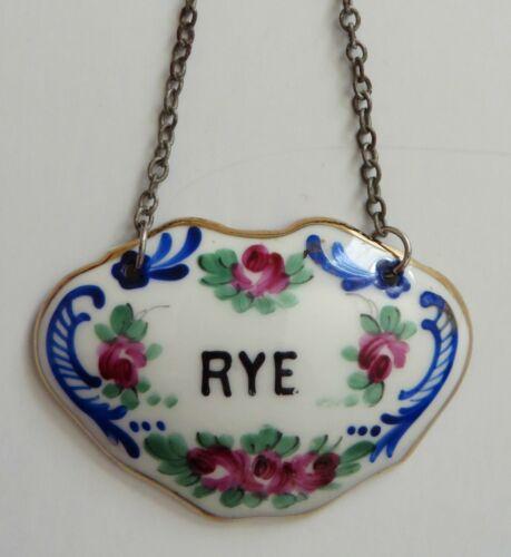 Vtg Label Tag French France Rye Porcelain Decanter Wine Liquor Hanging Chain