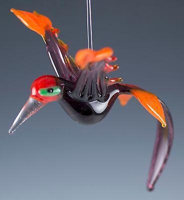 """Hand Blown Art Glass Hanging Hummingbird Bird Figurine New 4.25"""" Long"""