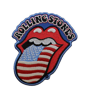The Rolling Stones USA Tongue Patch - Embroidered Iron On Licensed