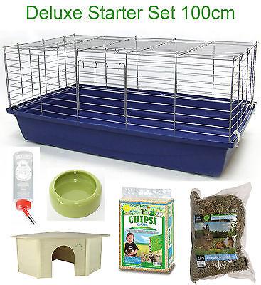 100cm Deluxe Set Hasenkäfig Nagerkäfig Kaninchenkäfig Meerschweinchenkäfig Stall