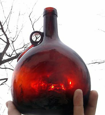 NICE RED AMBER CHESTNUT FLASK W/APPLIED HANDLE 1870'S ERA SHINY CLEAN L@@K