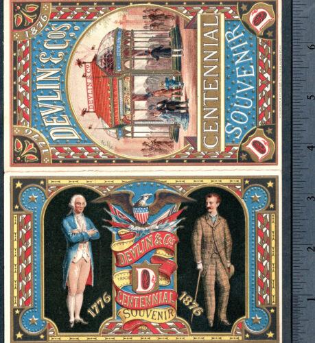 Expo 1876 Phila Centennial Souvenir Exhibit Trade Card Patriotic Devlin Clothing