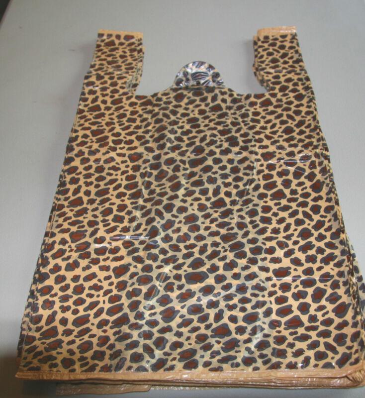"100 LEOPARD print Plastic T-Shirt Bags w/Handles 8"" x 5"" x 16"" gift party retail"