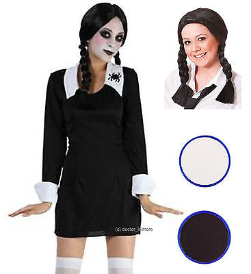 Creepy Scary SchoolGirl School Girl Halloween Fancy Dress Costume Wig Face - Scary School Girl Kostüm