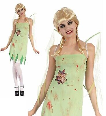 Adults Bloody Fairy With Wings Halloween Tinkerbell Ladies Fancy Dress Costume