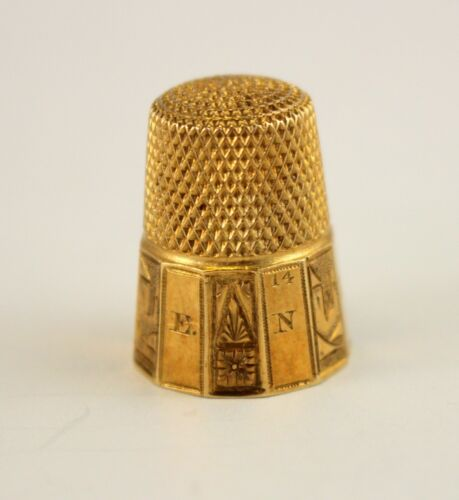 Victorian 14K Gold THIMBLE w/ Original Clamshell Case ~ Size 6 ~ Engraved HEAVY