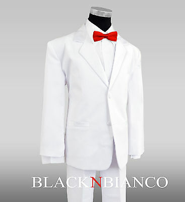 White Tuxedo for Kids Complete Outfit Comes with a Red Bow Tie Boys all - White Suits For Boy