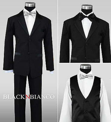 Boy Wedding Black Tuxedo For Kids Of All Ages Extra Silve...