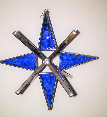 Stained Glass Moravian Star Sun Catcher Christmas Ornament RARE BLUE ()