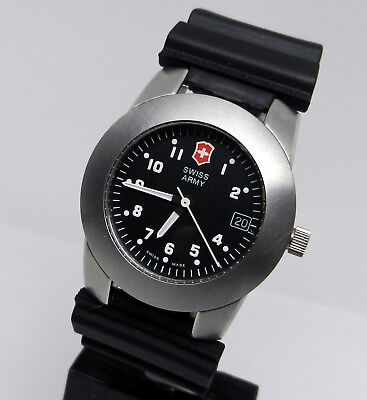 Men Authentic Swiss Made Army Victorinox Brushed Stainless Black Military Watch