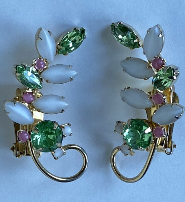 Vintage Signed Hobe Marquise Flat White Green Pink Rhinestone Clip On Earrings