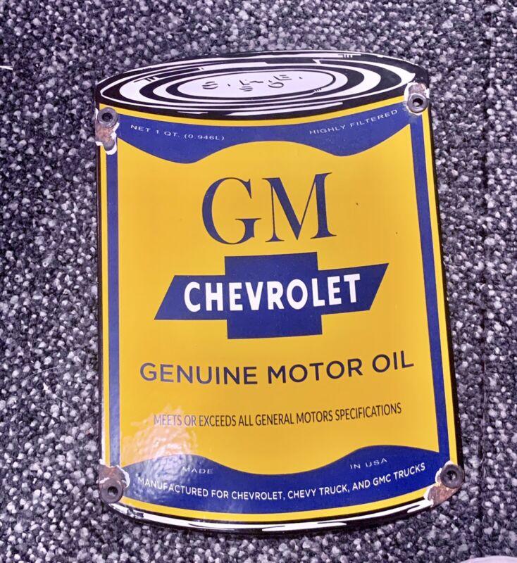 Vintage Style Gm Motor Oil Can Porcelain Pump Plate
