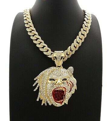 New Iced Half Man Half Beast Pendant Various Cuban Chain Hip Hop Necklace