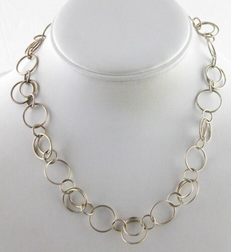 Mexico 925 Sterling Silver Interlocked Circles Chain Necklace 16.5 Inch Length