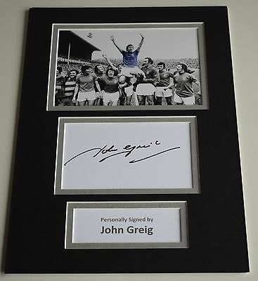 John Greig Signed Autograph A4 photo mount display Rangers Football PROOF COA