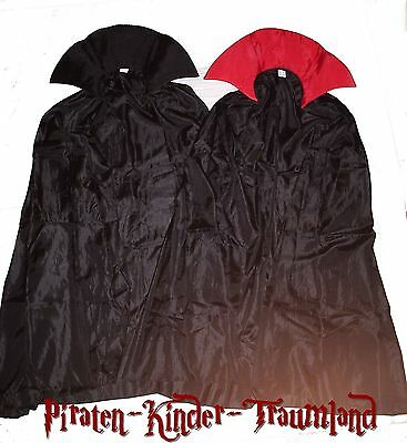DRACULA oder ZAUBER-CAPE mit KRAGEN ZAUBERER UMHANG KOSTÜM schwarz/rot