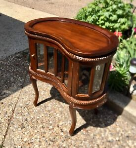 Kidney Shaped Curio / liquor cabinet w/beveled glass
