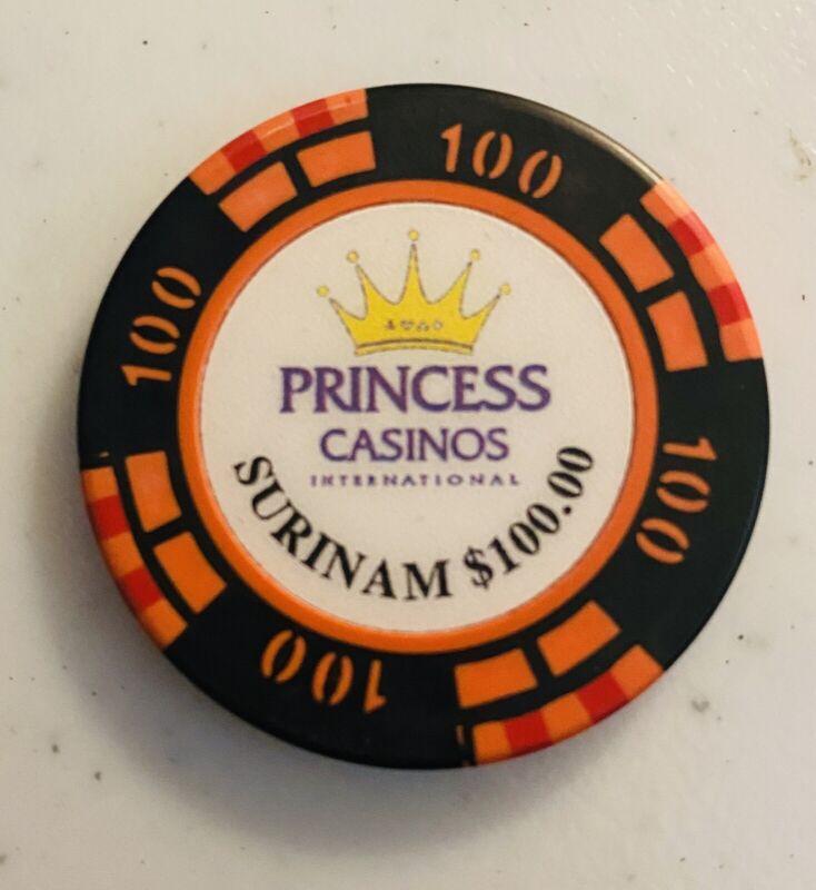 PRINCESS CASINO, SURINAME $100 CHIP, S.A. CARIBBEAN SEA
