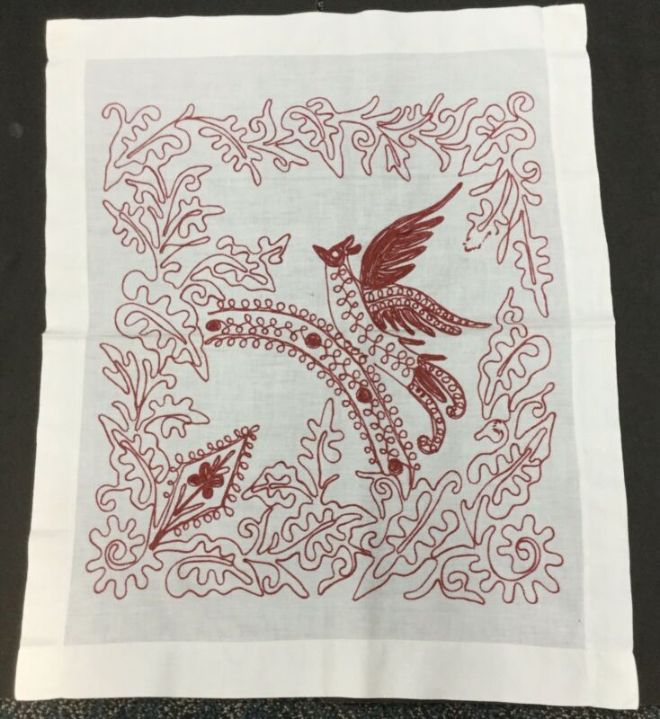 Vintage Red Work Antique Pillow Sham Embroidered Red Bird Flower Tiny Hole Linen