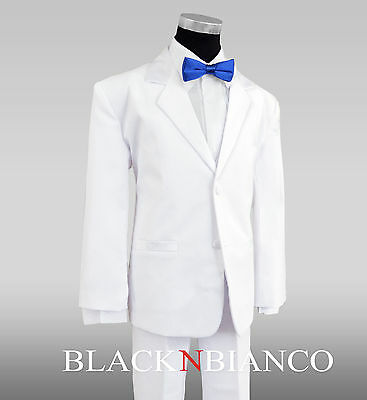 White Boy Tuxedo Dresswear Outfit with a Royal Blue Bow Tie Ring Bearer