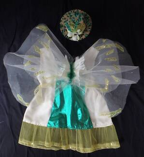 Costume: Tinkerbell Cream & Shimmer Green with Hat - Size 3-4 NEW