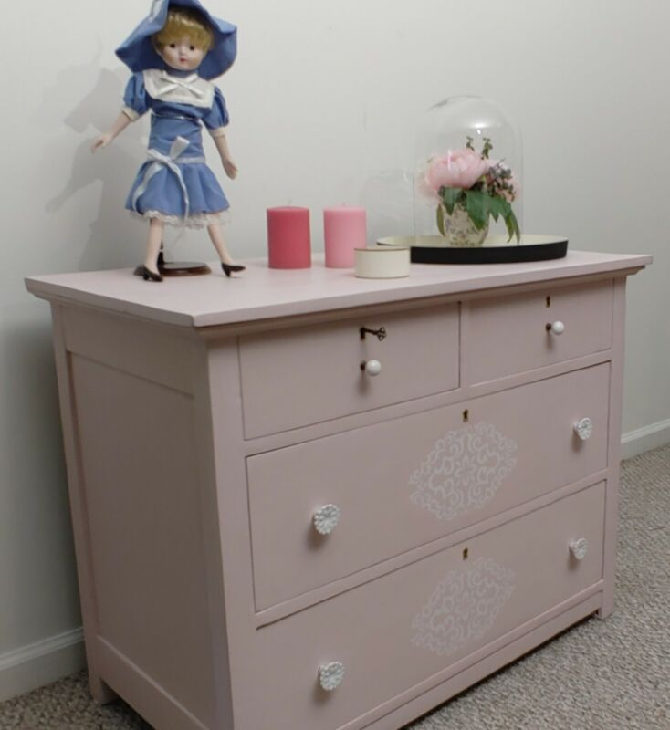 Lovely Pink Dresser / Chest Of Drawers For Bedroom - Local Pickup Only