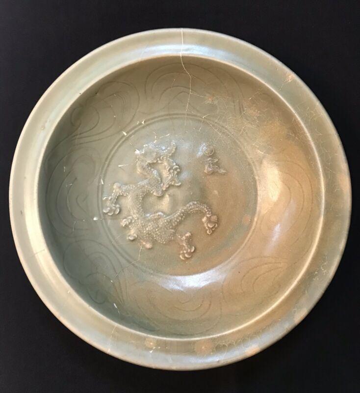 **RARE** 13th A.D. Yuan Dynasty Large Longquan Celadon Dragon Plate