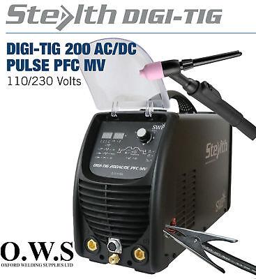 Swp Stealth Digi-tig Acdc 200amp Pulse Pfc Dual Volt Tig Welder Acdc Machine