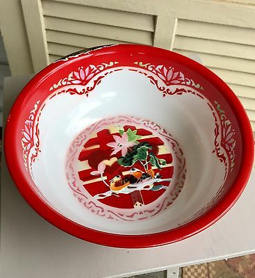 Vintage Large Red White Enamelware Pair of Birds Stencil Ware Enamel Large Bowl