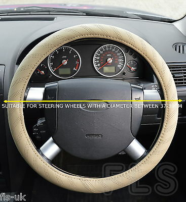 UNIVERSAL FAUX LEATHER LOOK BEIGE STEERING WHEEL COVER FITS NISSAN