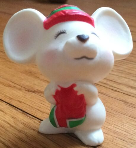 Hallmark Merry Miniatures Christmas White Mouse Stocking Figurine 1979 VTG GUC