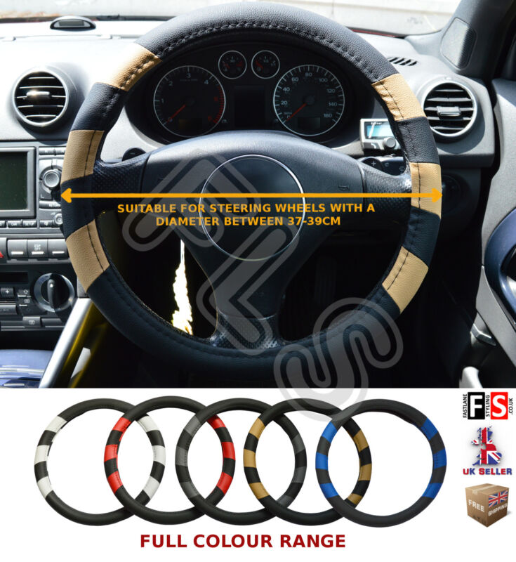 UNIVERSAL FAUX LEATHER STEERING WHEEL COVER BLACK/BEIGE 37-39 CM – Lexus
