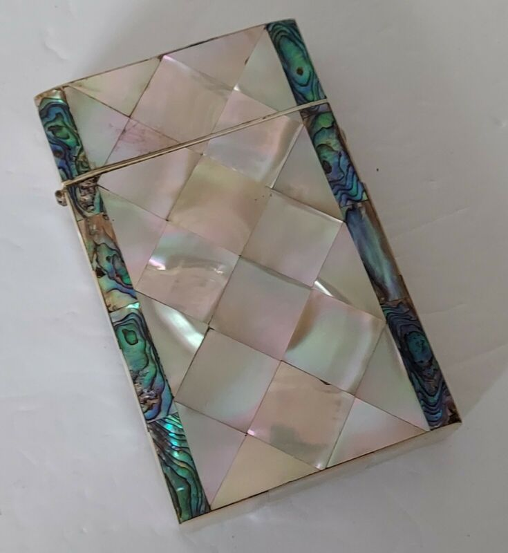 Antique Mother of Pearl & Abalone Shell Veneered Card Case 19th Century